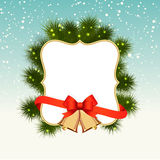 Winter christmas background with snow, spruce Royalty Free Stock Image