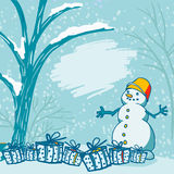 Winter Christmas Background with Snowman and Gift Boxes. Eps-8 Royalty Free Stock Photo
