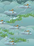 Winter christmas background with a snowy village landscape. Vector. Stock Image