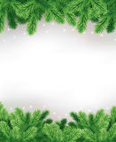 Winter christmas background with traditional green bow decorations Stock Photography