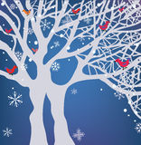 Winter Christmas background with tree. Winter Christmas blue background with tree, snow and birds Stock Images