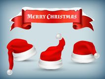 Winter Christmas banner vector with realistic Santa hats and Vector Illustration