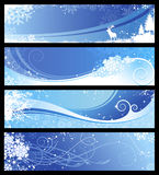 Winter or christmas banners. Set of four blue winter/christmas banners with snowflakes and floral elements Stock Photos