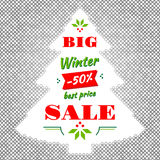 Winter and Christmas Big Sale Vector abstract background. Winter Sale: advertising poster, modern card, banner, flyer. Winter season sale vector illustration Stock Photo