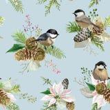 Winter Christmas Birds Seamless Background. Floral Poinsettia Retro Pattern stock illustration