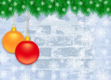 Christmas winter background with Christmas decoration. Winter Christmas blue frosty brick wall with fir branches and Christmas decoration Royalty Free Stock Photography
