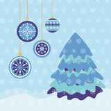 Winter Christmas card in blue and purple colors stock illustration