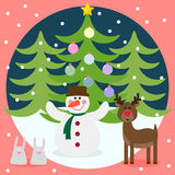 Winter christmas card with funny deer, snowman, rabbits and fir Royalty Free Stock Images