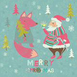 Winter Christmas card with Santa and Fox Royalty Free Stock Photo