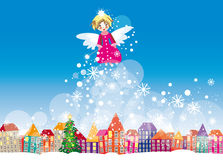 Winter christmas card. Vector graphic card with cute angel girl flying in winter city Stock Photos