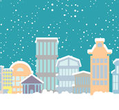 Winter Christmas City. Buildings in snow. Snowfall in town. New Stock Images