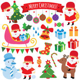 Winter christmas clip art set. Winter christmas, santa claus clip art set Royalty Free Stock Photos