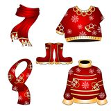 Winter Christmas Clothes Vector Set. Set of five winter clothes for christmas with a sweater, pullover, muffler, scarf, winter boots with red and gold colors and Stock Images