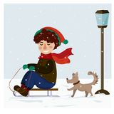 Winter Christmas collection. A boy is riding a sled and playing with a dog vector illustration