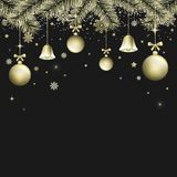 Winter Christmas  dark background with golden bells, christmas balls and bows. Snowlakes, snow, branches, glitter and glowin Stock Photography