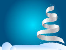 Winter christmas design. Winter abstract background with ribbon in the shape of tree Stock Photos