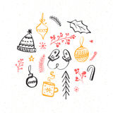 Winter and Christmas design elements. Hand drawn illustrations of knitted mittens and hat, decorations and branches Stock Photography