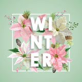 Winter Christmas Design in Vector. Winter Flowers with Pines Stock Image