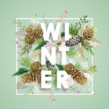 Winter Christmas Design in Vector. Winter Flowers with Pines Stock Photo