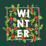Winter Christmas Design in Vector. Winter Hollyberries Retro Stock Photos