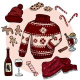 Winter Christmas doodles set. Cute hygge stickers. Collection of cozy winter items. Sweater, scarf, hat, mulled wine, ginger royalty free illustration