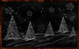 Winter Christmas Drawing on blackboard. Wallpaper holiday Stock Photo