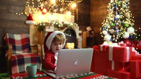 Winter Christmas emotion. Christmas kids. Home Christmas atmosphere. Christmas discount in online shop, Internet store. Winter Christmas emotion. Christmas kids stock video footage