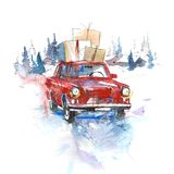 Winter Christmas eve Car with boxes holiday celebration. Winter Christmas eve Car with boxes holiday celebration stock image