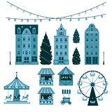 Winter Christmas fair market, Happy New year and Christmas Europe city, souvenir stalls, gift shops, Ferris wheel stock illustration