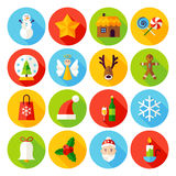 Winter Christmas Flat Icons. Vector Illustration. Happy New Year Holiday. Collection of Circle Items with Long Shadow Royalty Free Illustration