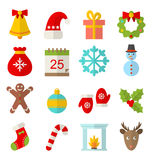 Winter and christmas flat set with sports fun Stock Images