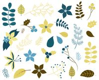 Winter and Christmas foliage with flowers, twigs and leaves stock illustration