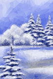 Winter Christmas Forest Landscape Royalty Free Stock Photography