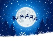 Winter christmas forest with Santa Claus rides Stock Photos