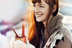 Winter Christmas  girl with hot drink Royalty Free Stock Photography