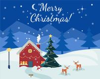 Card with Christmas landscape, Christmas tree and snow. Winter christmas christmas happy new year cartoon night blue landscape with snow and pine forest Merry Royalty Free Stock Photos