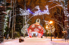 WINTER, CHRISTMAS, HOLIDAY. Christmas light decorations in the park Royalty Free Stock Photos