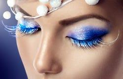 Winter Christmas holiday makeup. Closeup Stock Photography