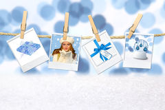 Winter Christmas Holiday Related Pictures. Blue Winter Christmas Holiday Related Pictures on Hanging Film Blanks stock photo