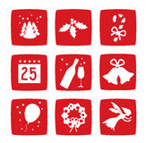 Winter Christmas holidays icons set Stock Photos