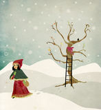 Winter and Christmas Illustration. A very whimsical and warm illustration for a winter theme Stock Images