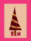 Winter christmas illustration. Purple christmas tree and presents illustration Stock Images