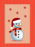 Winter christmas illustration. Red snowman and red snowflakes in a frame illustration Royalty Free Stock Photography