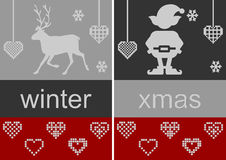 Winter and Christmas illustrations. Red and grey backgrounds with reindeer and elf silhouette, text graphics winter and xmas, and hearts Vector Illustration