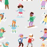 Winter Christmas kids playing games outdoor street playground children wintertime kids playing sport games of kinds Royalty Free Stock Photo