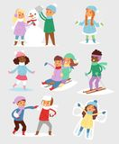 Winter Christmas kids playing games outdoor street playground children wintertime kids playing sport games of kinds Royalty Free Stock Image