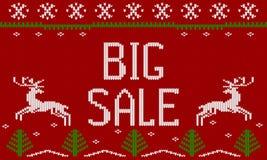 Winter Christmas knitted pattern, scandinavian style Royalty Free Stock Photo