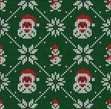 Winter Christmas knitted seamless abstract background Santa Claus, snowflakes, snowman. Winter Christmas x-mas knitted seamless abstract background with Santa royalty free illustration