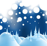 Winter christmas landscape. In night with snow flakes Stock Photos