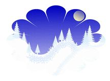 Winter christmas landscape. Place text, flower,hand drawn Royalty Free Stock Image